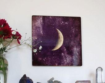Transcend, Metal Panel, Moon Photograph on aluminum, Crescent Moon in a purple sky, textured lunar art photo, aluminium high gloss wall art,
