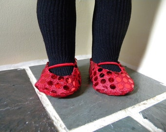 Red ballet flats for 18 inch doll