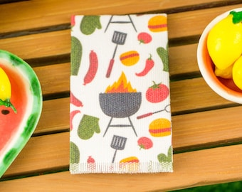 Miniature Grillin' & Chillin' Tea Towel - 1:12 Dollhouse Miniature