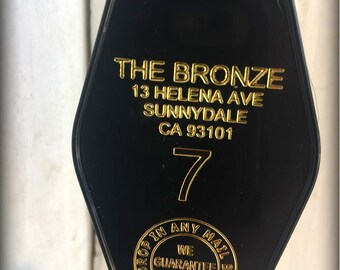 "BUFFY THE VAMPIRE slayer inspired ""The Bronze"" Keytag in Black & Gold"