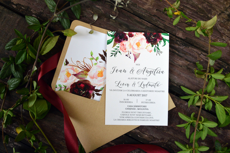 marsala rustic wedding invitation template bohemian wedding