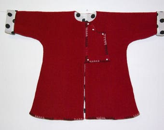 Kaftan red boiled wool and polka dots