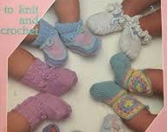 Leisure Arts Baby Booties to Knit and Crochet Leaflet 377 Copyright 1985