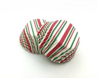 Green and Red Stripe Cupcake Liners (50)
