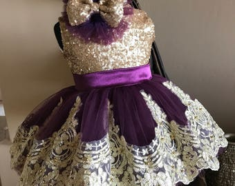 Gold and purple baby bow dress
