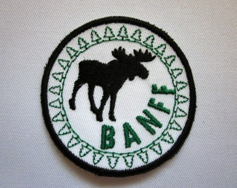 """Banff  Moose Canadian  Merit Badge  2"""" Iron or Sew On Patch"""