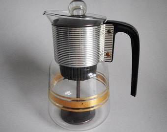 Vintage Cory Coffee Maker - clear glass, gold, DGPL-3, atomic - 1960s - retro, pitcher, coffee percolator, black handle, mid century modern