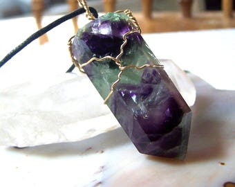 Fluorite necklace pendant 14 Karat Gold fill wire wrap - crystal stone bright purple green point natural stone rainbow - black cord - RR3K