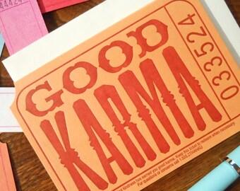 letterpress good karma ticket thank you note pack/6 orange rust raffle carnival ticket greeting card