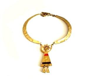 BICHE DE BERE ~ Authentic Vintage Gold Plated Necklace/Choker