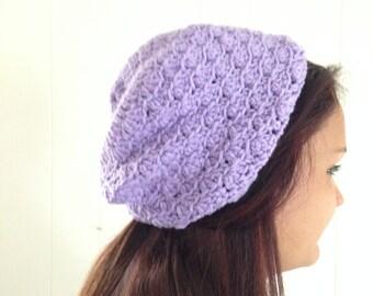 Handmade Purple Beanie Hat, Purple Slouchy Hat, Crochet Hat, Beanie Hat, Women's Accessories, Girls Hat, Lilac Hat,  Crochet Slouchy Hat