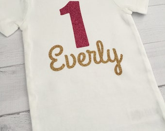 Personalized Birthday Shirt, One with Name, Baby Girl Bodysuit/One-piece