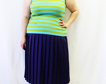 FINAL SALE - Plus Size - Vintage Blue & Green Stripe Sweater Knit Tank Top (Size 12/14)