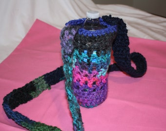 Handmade Crochet Water Bottle Cozy with Strap, water bottle holder, crochet cozy