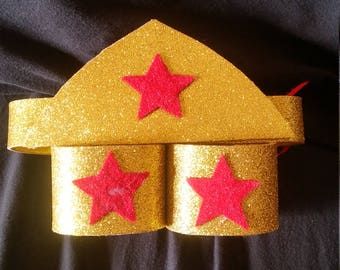 Wonder Woman head piece w/wrist cuffs, Wonder woman costume, wonder woman rave costume, womder woman birthday party, womans tutu, halloween