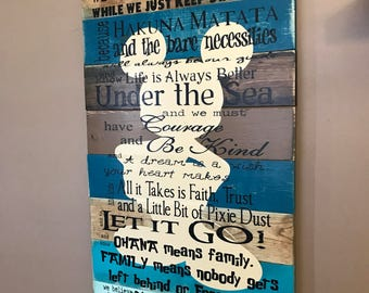 Disney Quotes In This House We Do Disney Planked Wood Teal