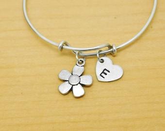 Flower Bangle, Sterling Silver Bangle, Flower Bracelet, Bridesmaid Gift, Personalized Bracelet, Charm Bangle, Monogram, Initial Bracelet