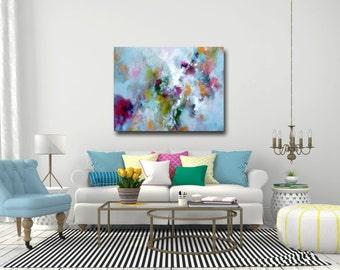 Canvas Art, Large Abstract Print, Giclee Print, Wall Art, Large Painting, Blue Canvas Art, Modern Art, blue, pink, green, yellow