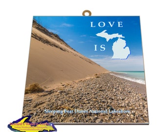 Love is Michigan Sleeping Bear Dunes -3233     Unique Michigan Gifts