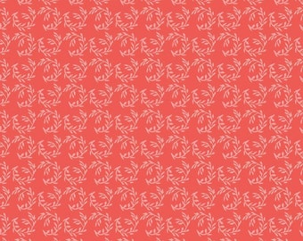 Riley Blake Apricot Fern Coral Fabric