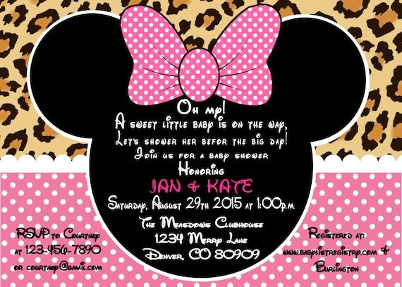 Printable pdf minnie mouse leopard baby shower invitation filmwisefo Choice Image