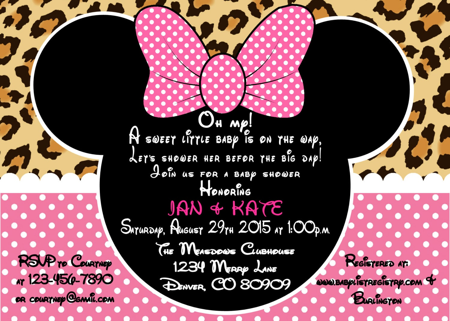 Printable PDF Minnie Mouse Leopard Baby Shower Invitation
