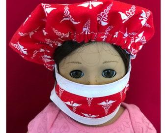 """Doll Hospital Scrub Hat and Maskfor 18"""" Doll or American Girl Doll"""