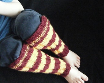 Legwarmers  - Stripes - Burgundy and Gold - Gryffindor - Ready to ship