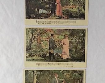 3 Vintage 1908 Postcards Courting Couple with Love Song Music Series