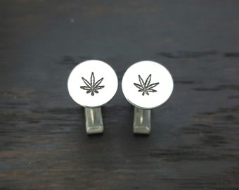 Stering Silver Cannabis Leaf Hand Stapped Cuff Links, 420 Weed Wedding by The Toke Shop