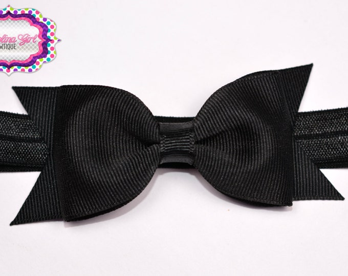 """Black Tuxedo Bow Headband  ~ 3.5"""" Hairbow ~ Small Hair Bow ~ Girls Headband ~ Toddler Bow ~ Baby Hair Bow ~ Hair Clip ~ Girls Hair Bow"""