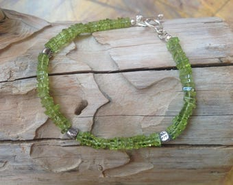Dainty Bracelet, Green Peridot, Semi Precious Gemstone, Karen Hill Tribe Silver, 925 Sterling Silver, August Birthstone, Gift for Her.