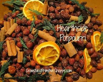 Hearthside pot-pourri mélangé avec Eglantier, baies, épices, cannelle, verts, cèdre, oranges en tranches biologiques, parfumé votre parfum au choix