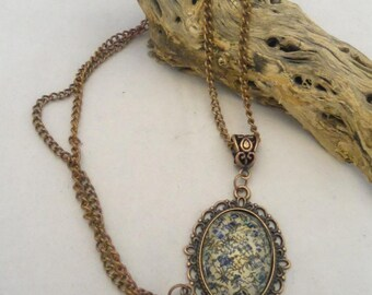Antique Copper Necklace with Vintage Look Ivory and Blue Pendant (1290)