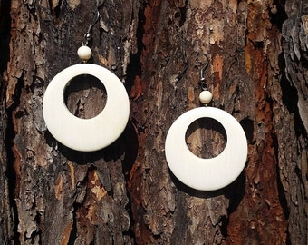 Wooden Jewelry, Wood Earrings - Lightweight Jewelry, White Wood Earrings