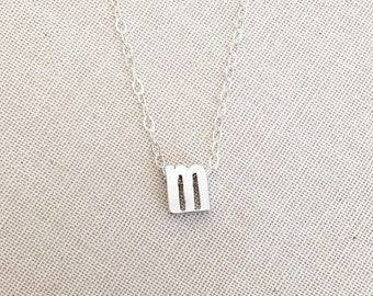 Lowercase Initial M Necklace, Sterling Silver Necklace, Lowercase letter M Charm/Pendant, Birthday gift, Personalized Necklace, Initial M