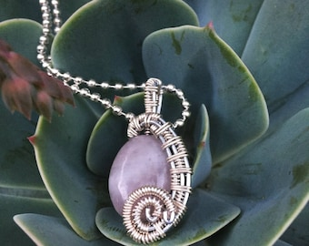 Rose Quartz Wirewrapped Pendant