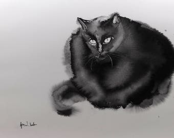 Serious - 14x20 inches original watercolor painting, gift for catlover