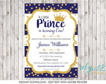 Birthday Little Prince Invitation, ANY AGE Blue & Gold glitter Edit yourself with Adobe Reader