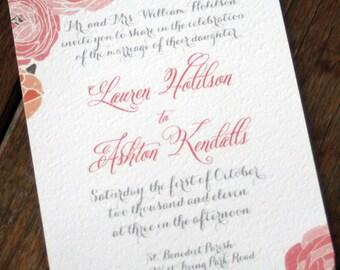 Rustic Rose Wedding Invitation Template, Vintage Rose Wedding Invitation Printable,Romantic Rose Boho Wedding Invitation Digital Download
