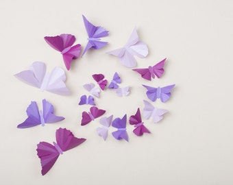 Purple Butterflies for Nursery Decor, Baby Shower, Bedroom | Metallic Wall Butterflies - Wisteria, Lilac and Orchid
