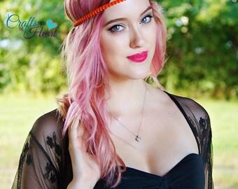 Orange Boho Headband - Halo Headband - Bohemian Headband - Forehead Headband - Boho Headband - Adult Boho Headband - Hippie Headband