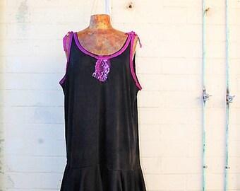XXLarge/Plus Tie Dye Sundress/Music Festival Clothing/Burning Man/Eco Chic Dress/Upcycled Recycled Clothing/ Fairy Dress/Black and white