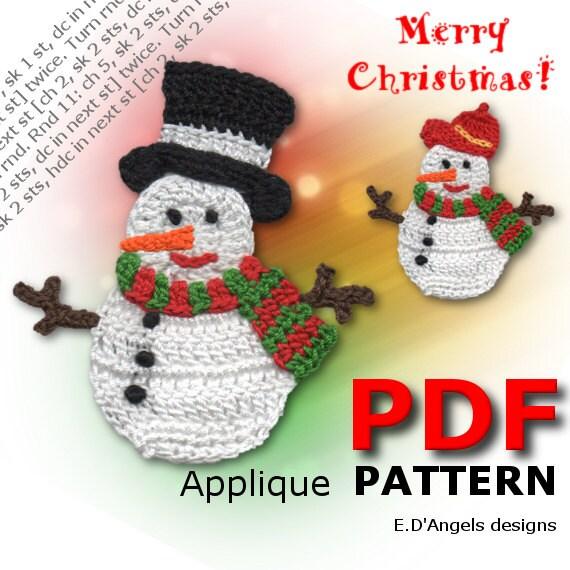 Crochet christmas patterns Crochet SNOWMAN Applique