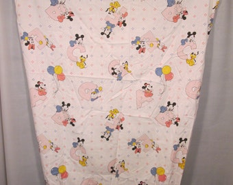 Vintage 1984 Disney Babies Fitted Crib Sheet Material White