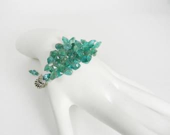 Apatite Gemstone Bracelet Unique Beaded Gems Boho Jewelry Silver Adjustable Bracelet