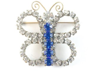 Vintage Rhinestone Butterfly Brooch 1960s Marie Ferra Designer Signed Pin Blue & Clear Crystal Brooch Vintage Antique Estate Jewelry Gift