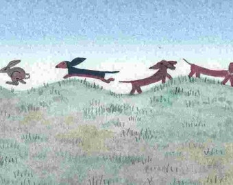 All but one dachshund (doxie) ignores the rabbits / Lynch signed folk art print Weiner / Wiener Dog