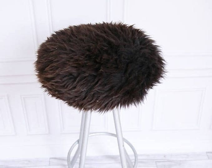 Sheepskin Stool Cover | Round Stool Cover | Furry Stool | Scandinavian Decor | Stool Cover | Ottoman Cover | Chair Pad