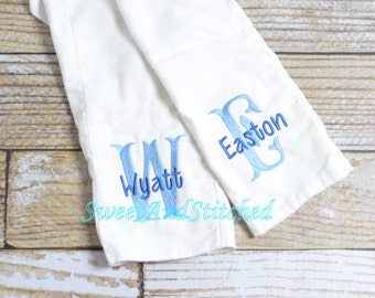 Monogrammed Burp Cloth for boys in blue, baby shower gift, baby boy layette, monogram burp cloth set, personalized burp cloth